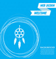 dreamcatcher icon on a blue background with vector image