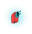 Electric power adapter icon comics style vector image vector image