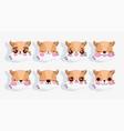 emojis kawaii cartoon cute fox heads hearts love vector image