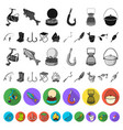 fishing and rest flat icons in set collection for vector image vector image