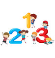 font design for numbers one to three vector image vector image