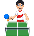 funny man cartoon playing table tennis vector image vector image
