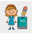 girl student book pencil vector image