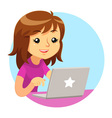 Girl Wearing Purple Shirt Using Grey Laptop vector image vector image