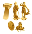 Greek Golden statues column shield and jugs vector image vector image
