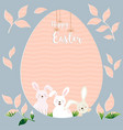 happy easter with cute rabbits on egg shape vector image