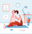 home yoga flat cartoon happy vector image vector image