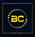 initial letter bc logo template design vector image