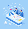 isometric business people talking conference vector image vector image