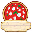 italian pizza logo with empty wooden space vector image vector image