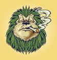 monkey weed smoke leaf marijuana mascot vector image vector image
