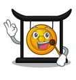 okay golden gong in the cartoon room vector image vector image