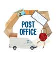 parcel letter postage stamp mail delivery truck vector image