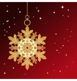 Red card with christmas snowflake vector image vector image