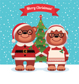 Santa Claus and his wife bears Christmas vector image vector image