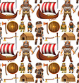 Seamless viking people and ship vector image