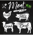 Set meat silhouettes chalk vector image