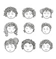 set nine different cute hand drawn faces vector image