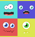 set of cartoon monster faces with different vector image vector image