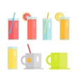 Set of Glasses and Cups with Beverages vector image