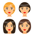 set women with different haircuts or hairstyles vector image vector image