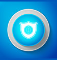 shield with world globe icon isolated on blue vector image vector image