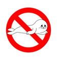 stop small sea calf ban fur seal white red vector image vector image