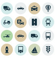 transport icons set collection of airship vector image vector image