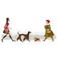 walking dogs vector image