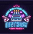 wish you a very happy birthday dear friend neon vector image