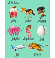Words begin with letter J vector image