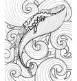 zentangle whale in sea print for adult vector image vector image