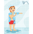 Young Boy Having Shower vector image