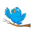 Blue bird cartoon singing vector image