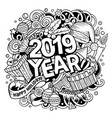 2019 doodles new year objects and vector image vector image