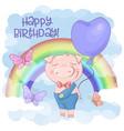 A cute pig cartoon on a rainbow