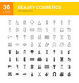 beauty cosmetics line web glyph icons vector image