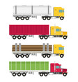 big semi truck set flat trendy vector image