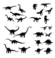 Big set of dinosaurs silhouettes vector image