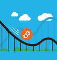 bitcoin coin on roller-coaster vector image vector image