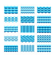 blue water wave tiles set for seamless patterns vector image vector image