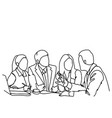 business people team sit at desk together vector image
