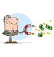 Businessman Using A Magnet To Attracts Money vector image vector image