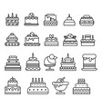 cakes isolated line icon birthday and wedding vector image
