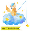 cartoon night scene with cute fox vector image vector image
