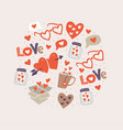 circle with love stickers hearts vector image