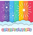 congratulations fireworks vector image vector image