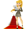 Cute girl with laptop on success ladder vector | Price: 3 Credits (USD $3)