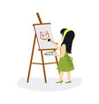 cute little girl drawing and painting picture flat vector image