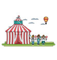 doodle circus unny clowns with balloons and hat vector image